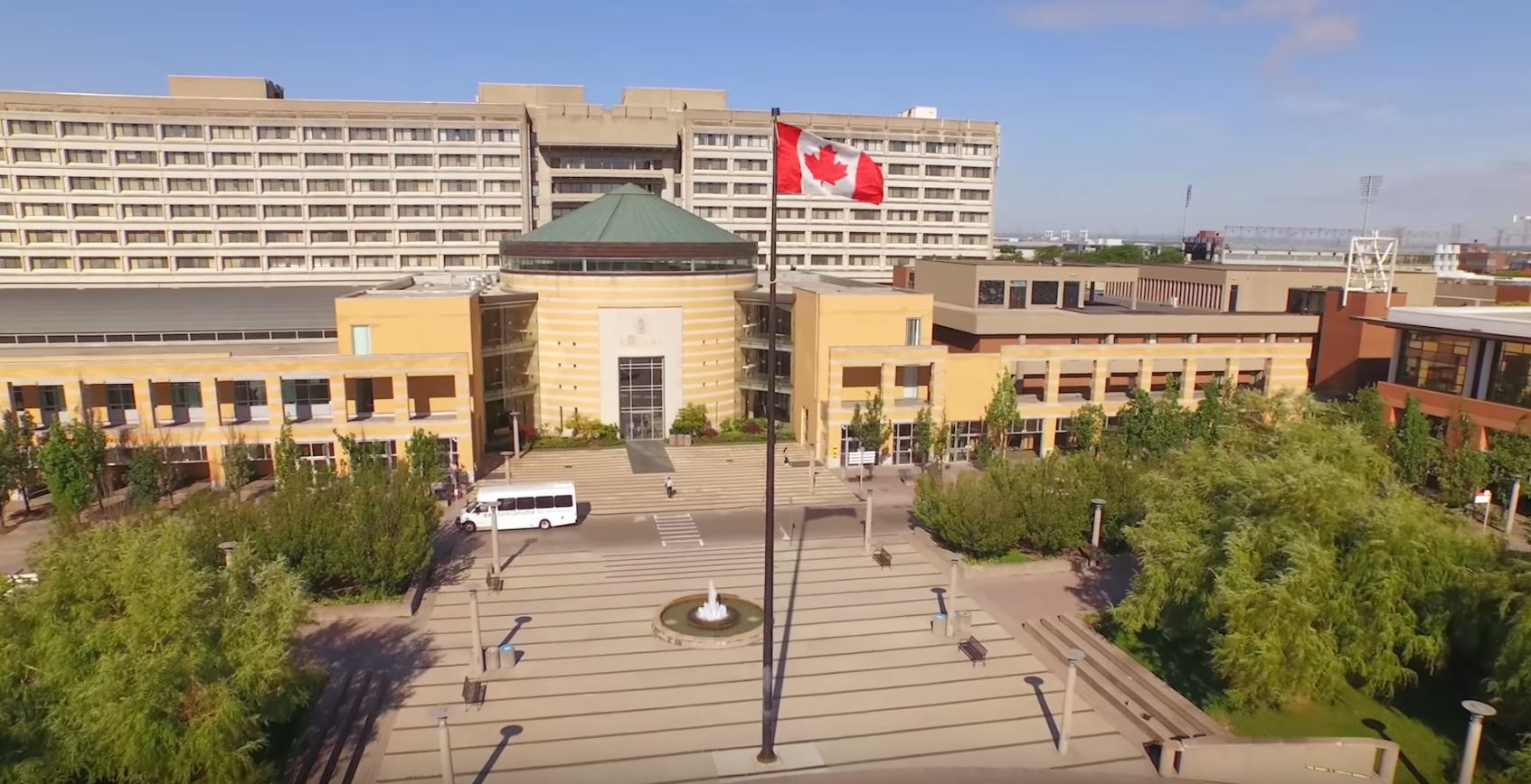 photo of Vari Hall, the fountain, flag pole and the Ross Building from a height